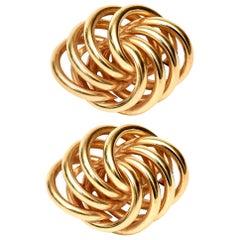 Pair of 14 Karat Gold Pierced Lever Back Sculptural Earrings Vintage