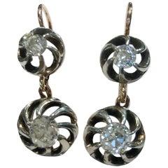 Pair of 14 Karat Gold Silver and Diamond Earrings