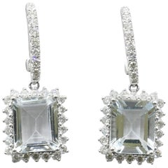 Pair of 14 Karat White Gold Aquamarine and Diamond Earrings