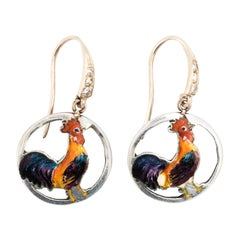 Pair of 14 Karat White Gold Silver Enamel Chicken Pendant Earrings