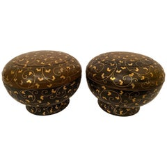 Pair of 14'' Large Japanese Golden Black Lacquer Cover Boxes