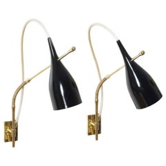 """Pair of 14140 """"Lucinella"""" wall lamps by Angelo Lelli for Arredoluce, 1958"""