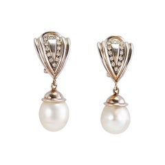 Pair of 14k White Gold Diamond and Pearls Earrings