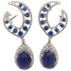 Pair of 16.5 Carat Tanzanite and 1.80 Carat Diamonds Blue Sapphire Earrings