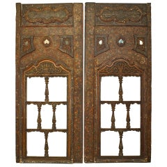 Pair of 16th Century Carved Open Design Persian Window Panels