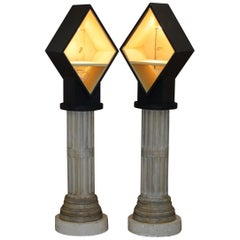 Pair of Tall Display Cabinets on Corinthian Pillars with Built in Lights