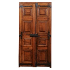 Pair of 1770s French Wooden Communication Doors with Raised and Molded Panels