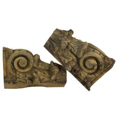 Pair of 17th-18th Century, French Oak Capital Fragments