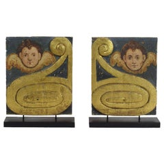 Pair of 17th-18th Century Italian Painted Wooden Baroque Panels with Angels