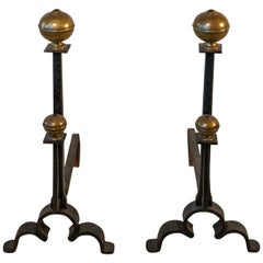 Pair of 17th Century Style Iron and Brass Hand Wrought Andirons