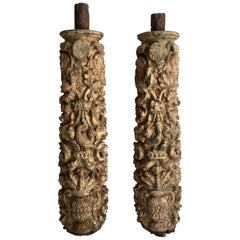 Pair of 17th Century Carved and Polychromed Portuguese Columns