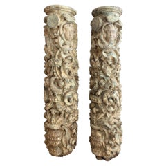 Pair of 17th Century Carved and Polychromed Wood Portuguese Columns