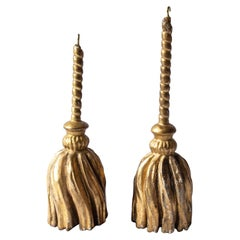 Pair of 17th Century Carved Antique Swedish Gustavian Gilt Tassels