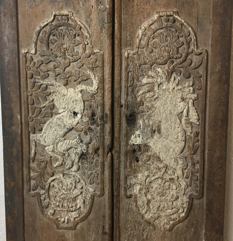 Teak Pair of 17th Century Chinese Carved Doors or Panels For Sale