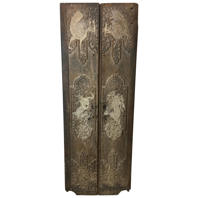 Pair of 17th Century Chinese Carved Doors or Panels For Sale