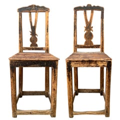Pair of 17th Century Danish Baroque Side Chairs