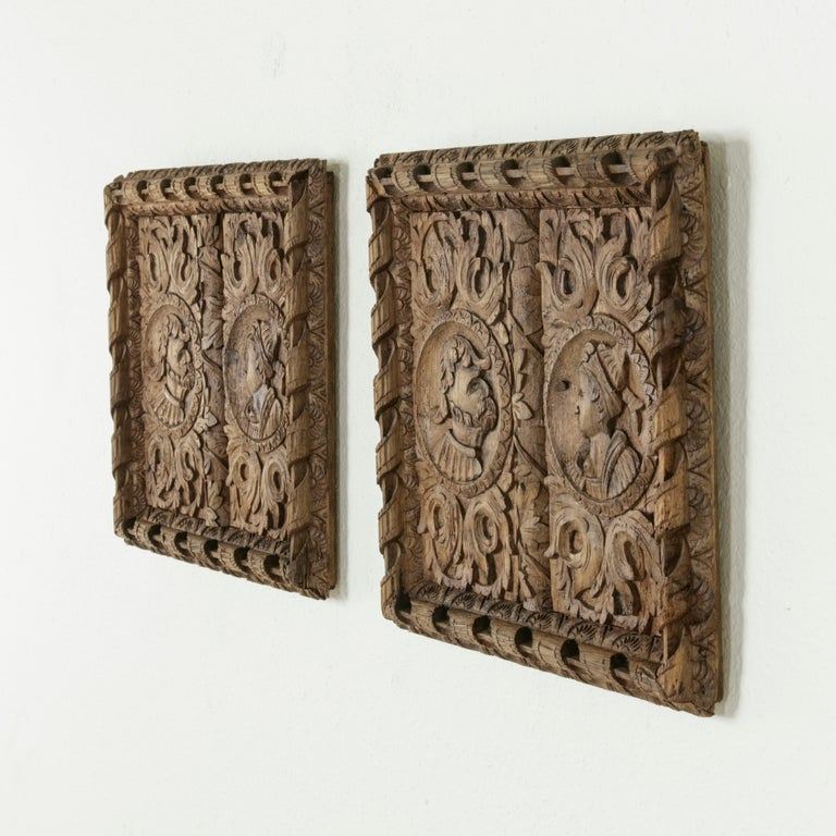 Louis XIII Pair of 17th Century French Hand Carved Oak Panels with Male and Female Profiles For Sale