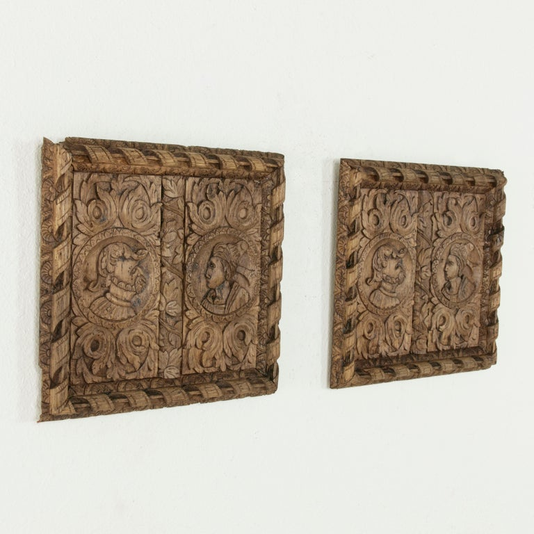 Hand-Carved Pair of 17th Century French Hand Carved Oak Panels with Male and Female Profiles For Sale