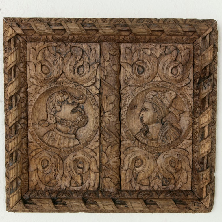 18th Century and Earlier Pair of 17th Century French Hand Carved Oak Panels with Male and Female Profiles For Sale