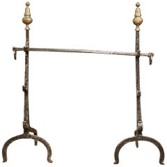 Pair of 17th Century French Polished Forged Iron and Bronze Fireplace Andirons