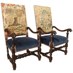 Pair of 17th Century French Walnut and Saint-Cyr Tapestry Armchairs