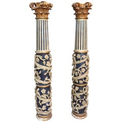 Pair of 17th Century Italian Baroque Hand Carved Columns