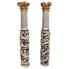 Pair of 17th Century Italian Baroque Hand Carved Columns