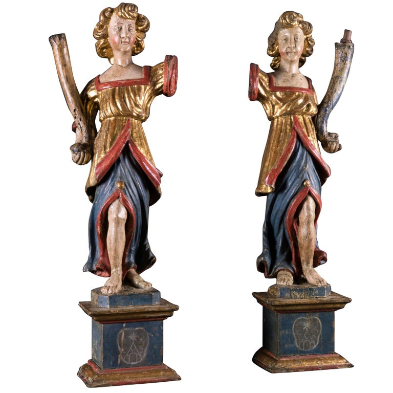 Pair of 17th Century Italian Baroque Painted and Gilt Wood Cherub Sculptures