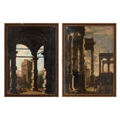 Pair of 17th Century Italian Capriccios of Ruins Follower of Codazzi