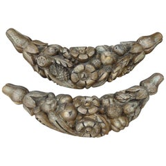 Pair of 17th Century Italian Carved Fruit Swag Architectural Elements