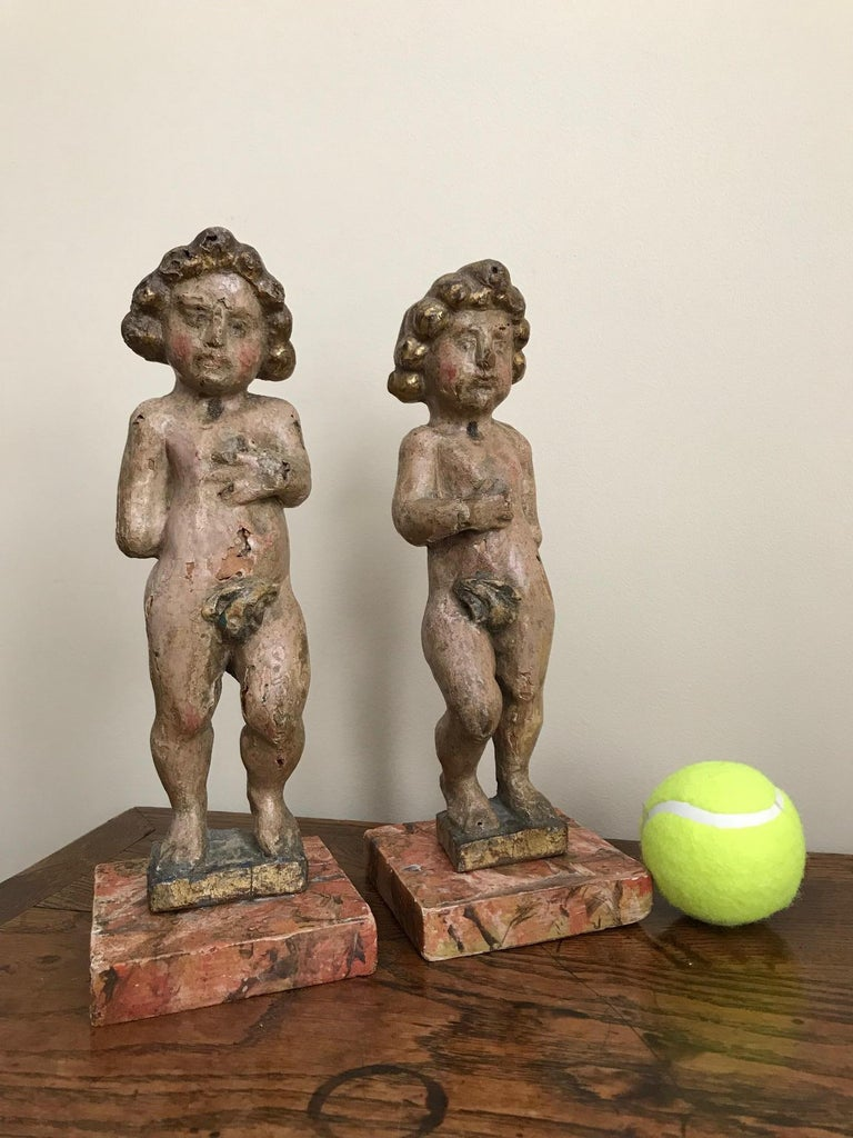 Pair of 17th Century Italian Carved Wood Putti For Sale 10