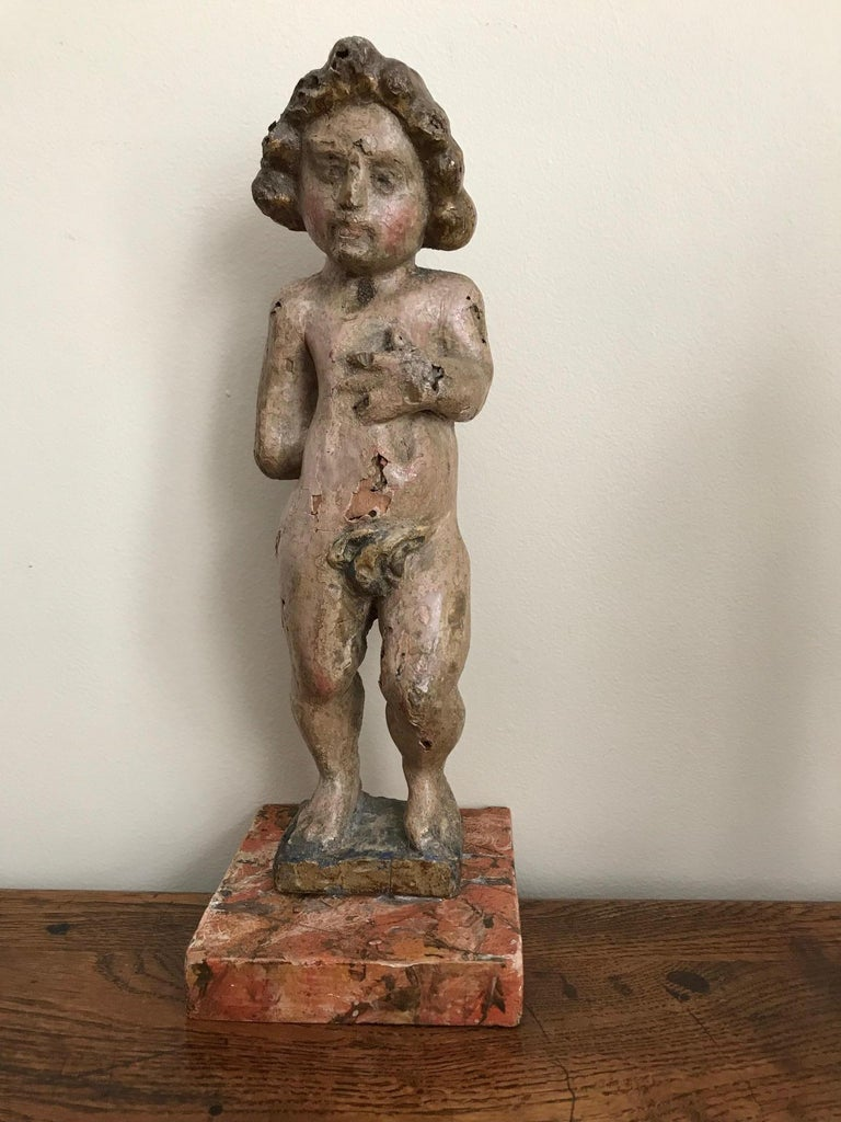Pair of 17th Century Italian Carved Wood Putti For Sale 2
