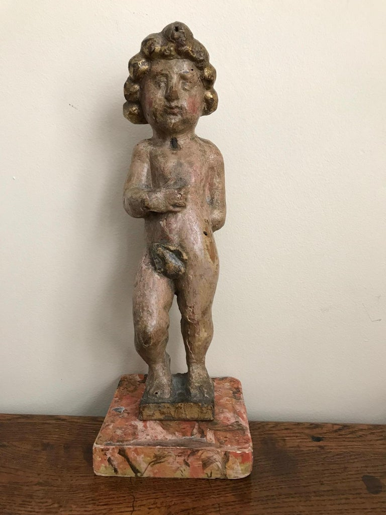 Pair of 17th Century Italian Carved Wood Putti For Sale 4