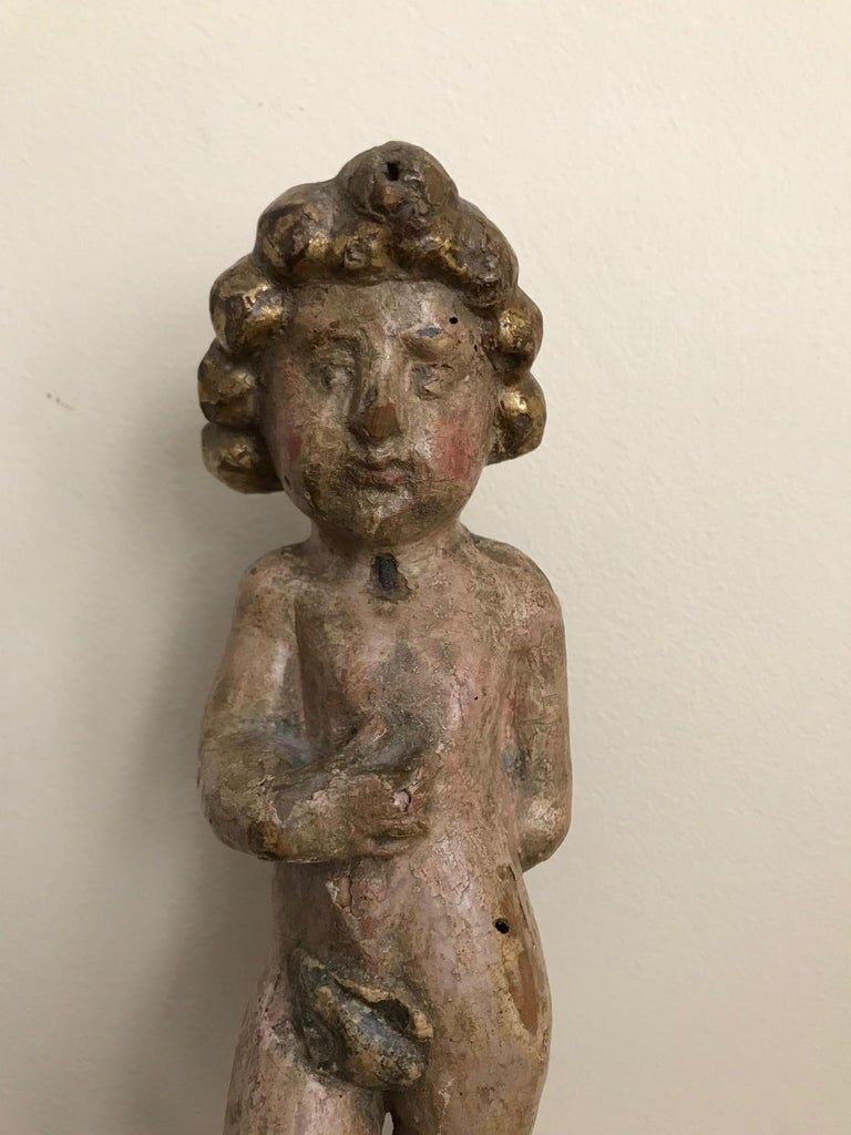 Pair of 17th Century Italian Carved Wood Putti For Sale 5