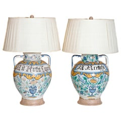 Pair of 17th Century Italian Maiolica Vases as Lamps