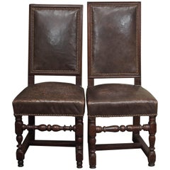 Pair of 17th Century Leather and Walnut Side Chairs