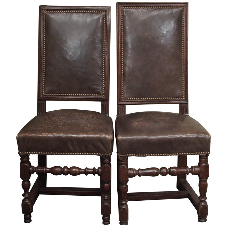 Pair of 17th Century Leather and Walnut Side Chairs For Sale