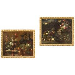 Pair of 17th Century Oil on Canvas Italian Still Life Paintings, 1680