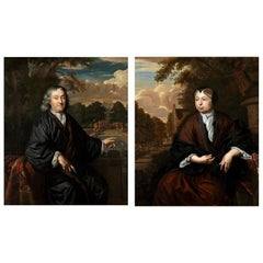 Pair of 17th Century Portraits of Possible Textile Dealers by Chr. Lubieniecki