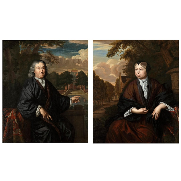 Pair of 17th Century Portraits of Textile Dealers by Chr. Lubieniecki For Sale