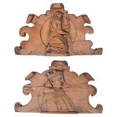 Pair of 17th Century Spanish Hand Carved Pine Wood Portrait Bas-Reliefs