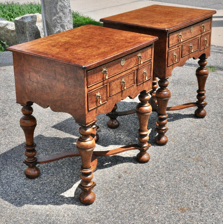 Pair of William and Mary or George I style burl walnut end or side tables. Trumpet legs.
