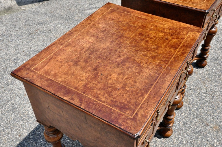 English Pair of 17th Century Style Burl Walnut End Tables For Sale
