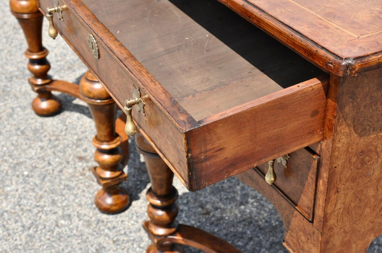 20th Century Pair of 17th Century Style Burl Walnut End Tables For Sale