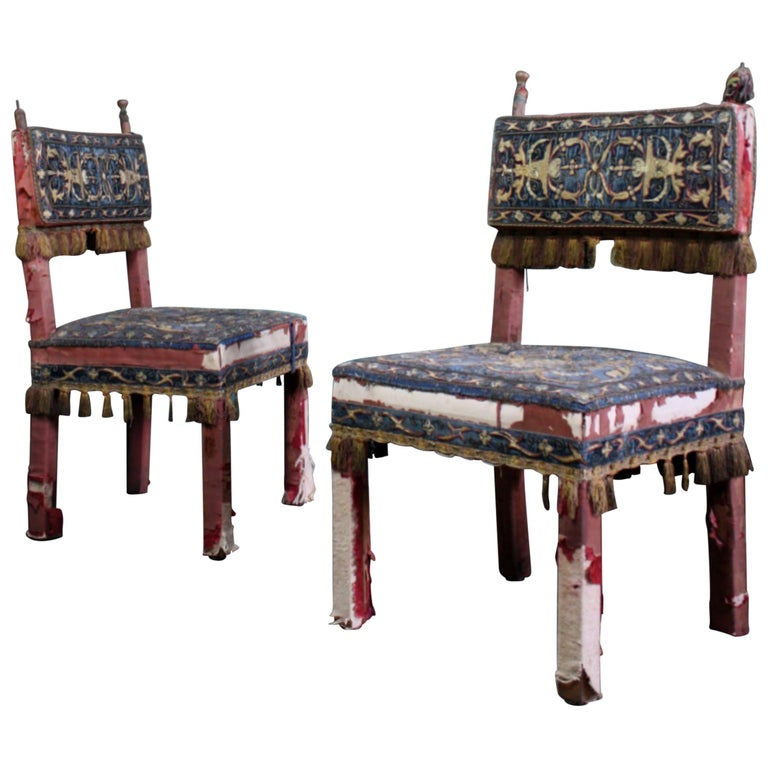 Pair of 17th Century Style Chairs by George Trollope & Son For Sale