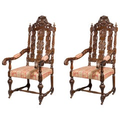 Pair of 17th Century Style Oak Chairs