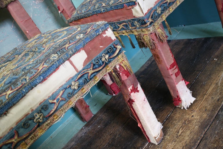 Silk Pair of 17th Century Style Chairs by George Trollope & Son For Sale
