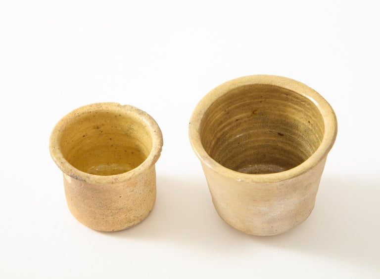 Dutch Pair of Small Very Thin Delicately Formed Ceramic Pots, Netherlands For Sale
