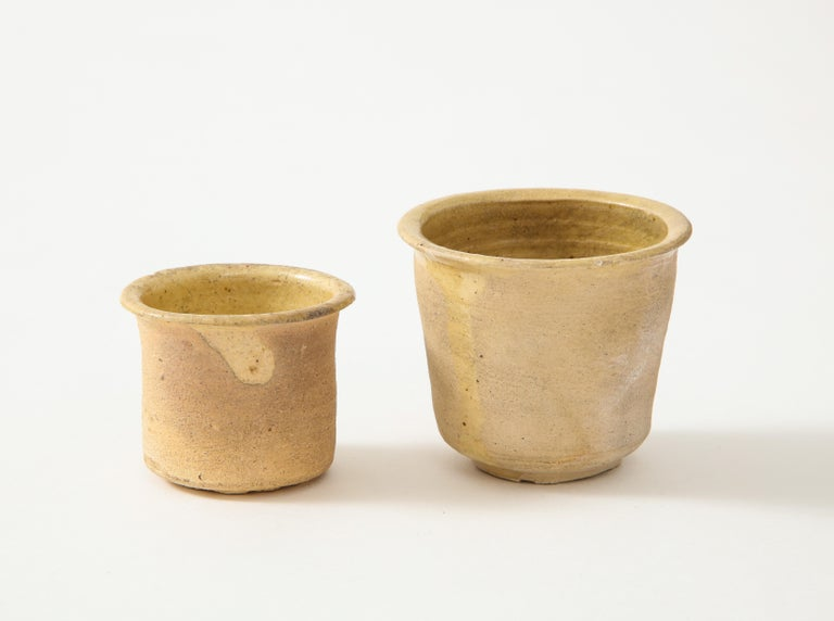 Glazed Pair of Small Very Thin Delicately Formed Ceramic Pots, Netherlands For Sale