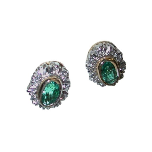 Pair of 18 Carat Emerald and Diamond Cluster Earrings, Dated 2005, London